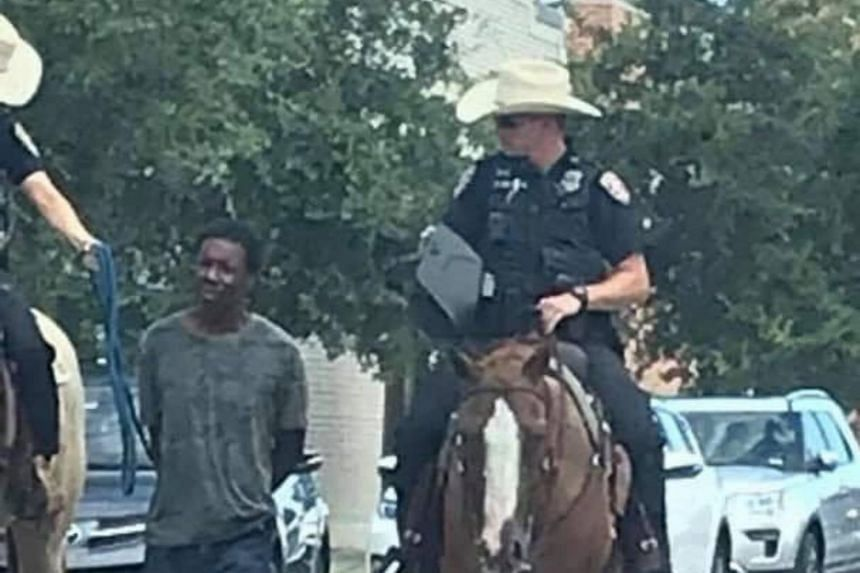 Vernon Hale, police chief for the coastal Texas city of Galveston, said that Donald Neely, who was arrested for trespassing, should have been taken to the station in a police car, but only mounted officers were available.