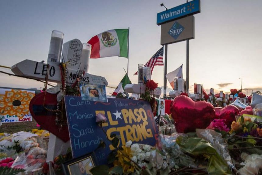 A photo taken on Aug 6, 2019 shows a memorial for victims of the shooting at a Walmart in El Paso, Texas. Mr Donald Trump's plan to visit the city was controversial, with the case being investigated as a hate crime and domestic terrorism.