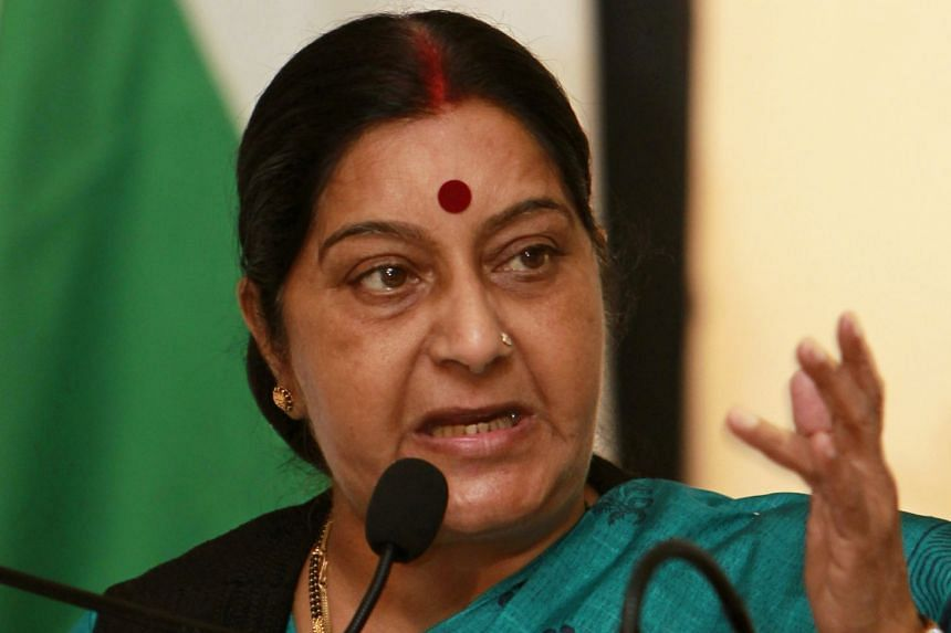 A 2012 file photo shows Sushma Swaraj speaking during a press conference in Sri Lanka.