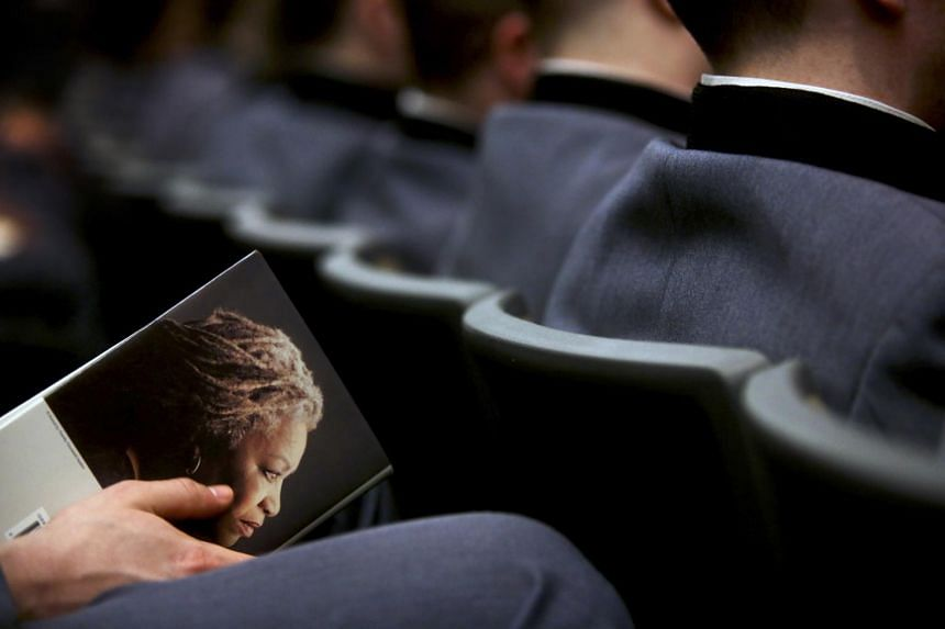 In a picture taken on March 22, 2013, students attend a reading by the author Toni Morrison at the United States Military Academy in West Point, New York.