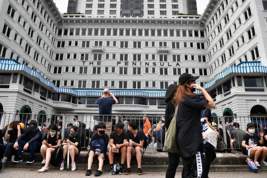 Protestors outside the five-star Peninsula Hotel in Tsim Sha Tsui, Hong Kong, on Aug 3, 2019.