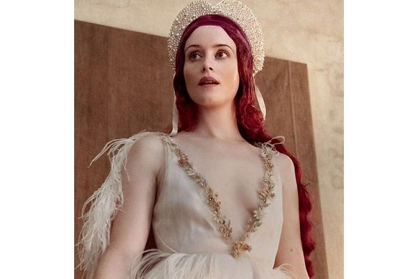 Actress Claire Foy posing in a photo shoot for Pirelli's 2020 calendar.