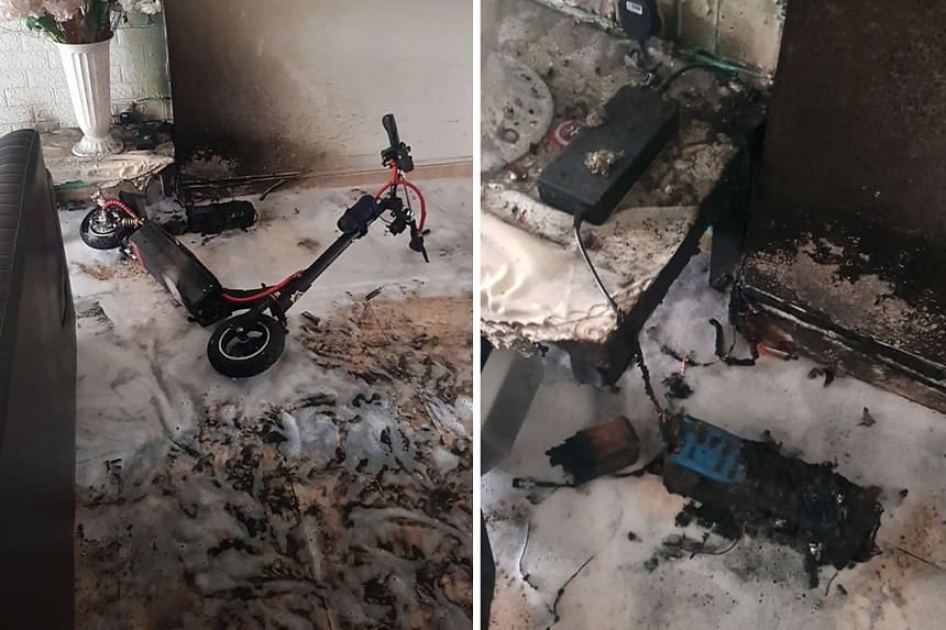 The fire broke out in a flat at Block 688A in Choa Chu Kang Drive. Preliminary investigation indicates that it was of electrical origin from the PMD being charged at the time of the fire, SCDF said. PHOTOS: FACEBOOK/ SINGAPORE CIVIL DEFENCE FORCE
