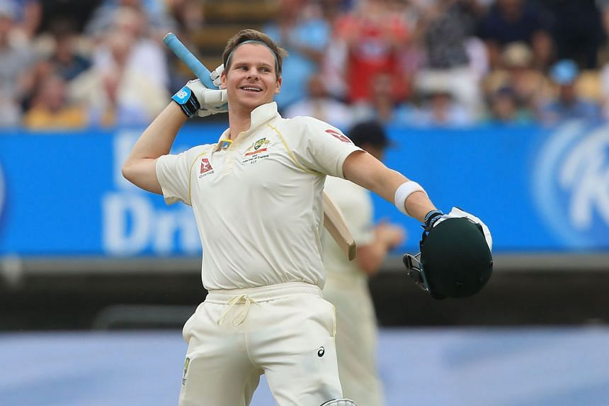 Australia's Steve Smith celebrates reaching a century on the fourth day of the first Ashes Test match against England at Edgbaston on Sunday.