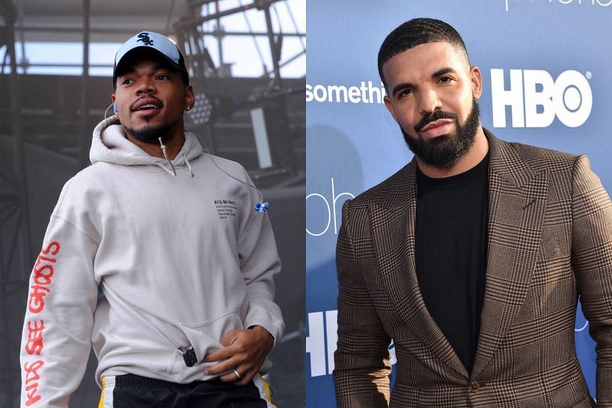 Chance The Rapper (left) is behind the album The Big Day, while Drake (right) puts out his first compilation album, titled Care Package.