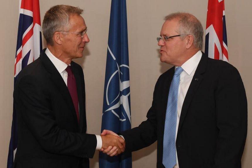 Nato Secretary General Jens Stoltenberg (left) shaking hands with Australian Prime Minister Scott Morrison during the former's two-day visit to Australia.