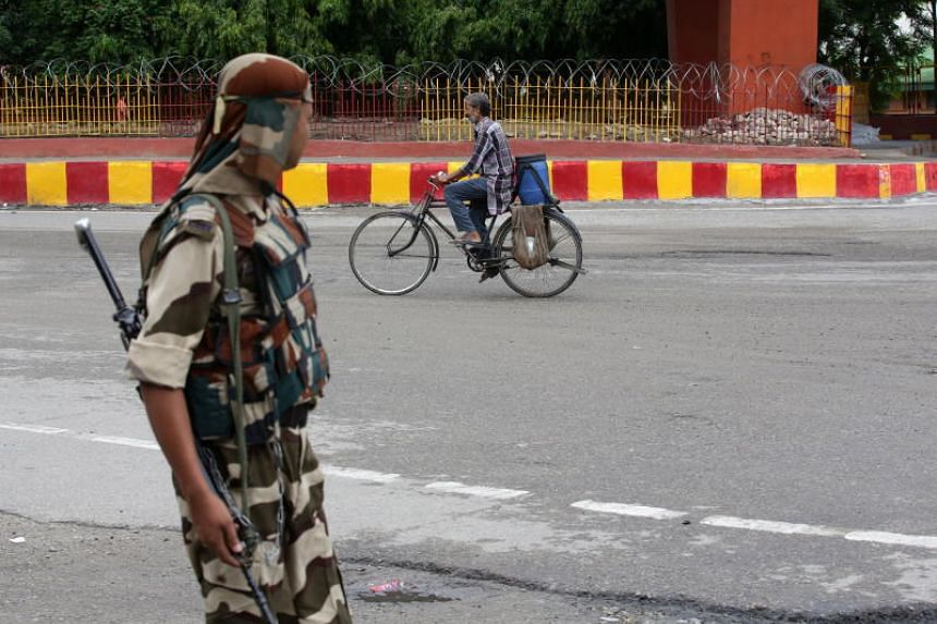An Indian paramilitary soldier in Jammu, the winter capital of Kashmir, on Aug 7 2019.