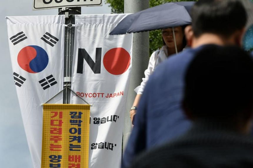 An anti-Japan banner in Seoul's Jung-gu district on Aug 6, 2019.