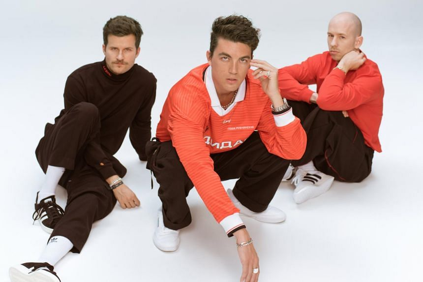 Los Angeles-based indie-pop trio Lany, comprising keyboardist and guitarist Les Priest (right), pianist and guitarist Paul Klein (centre) and drummer Jake Goss (left).