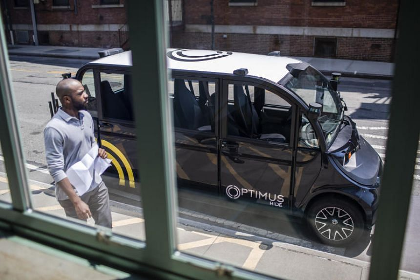The self-driving car operated by Optimus Ride seen at the Brooklyn Navy Yard in New York on July 30, 2019.