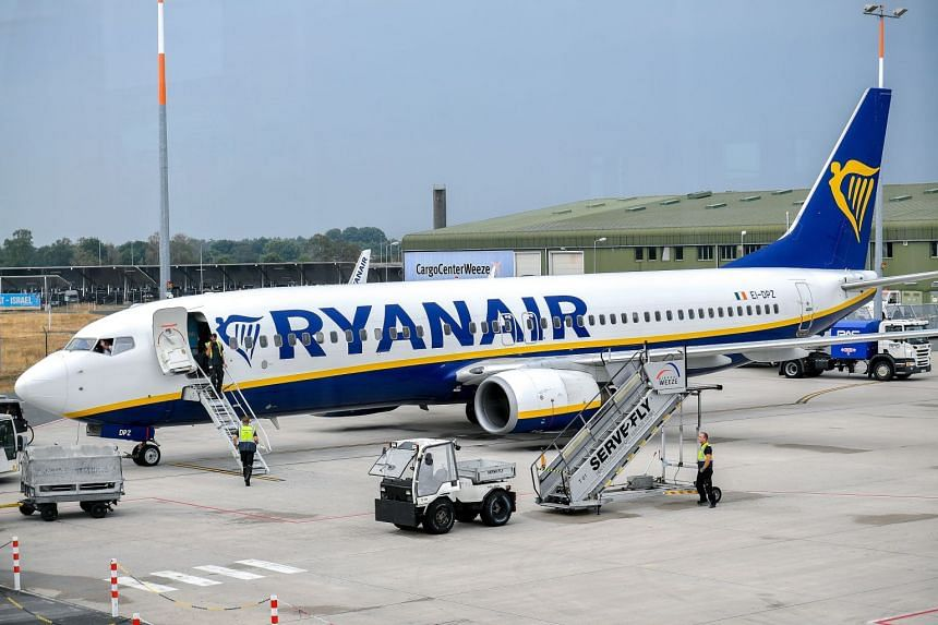 A Ryanair plane on the tarmac at Niederrhein airport in Weeze, Germany. The strikes by members of the British Airline Pilots Association will be held from Aug 22 to 23 and again from Sept 2 to 4.