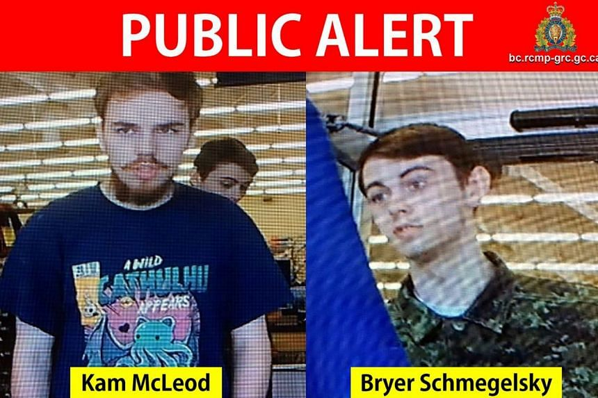 Kam McLeod and Bryer Schmegelsky are seen in a combination of still images from undated CCTV video.