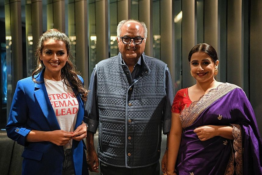 (From left) Actress Shraddha Srinath, producer Boney Kapoor and actress Vidya Balan at the world premiere of the film, Nerkonda Paarvai, at The Cathay on Tuesday. Nerkonda Paarvai also stars Ajith Kumar (above) as a lawyer who helps three women impli