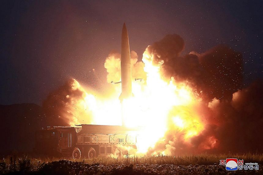 A missile being launched from an unknown site in North Korea. Pyongyang has had a series of launches in the past two weeks.