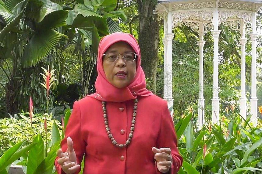President Halimah Yacob posted a National Day greeting video on Facebook yesterday.