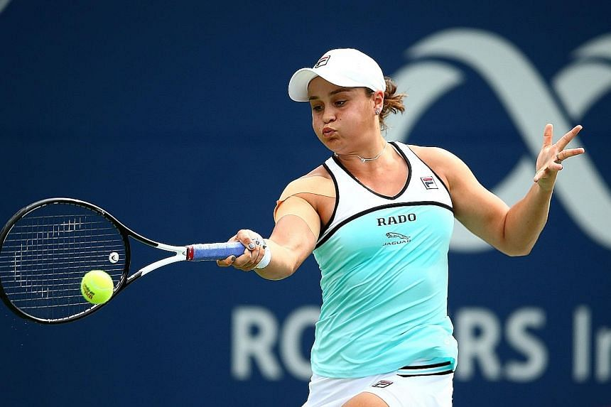 Ashleigh Barty may vacate her women's No. 1 spot after crashing out of the second round of the Rogers Cup to American Sofia Kenin on Tuesday. PHOTO: AGENCE FRANCE-PRESSE