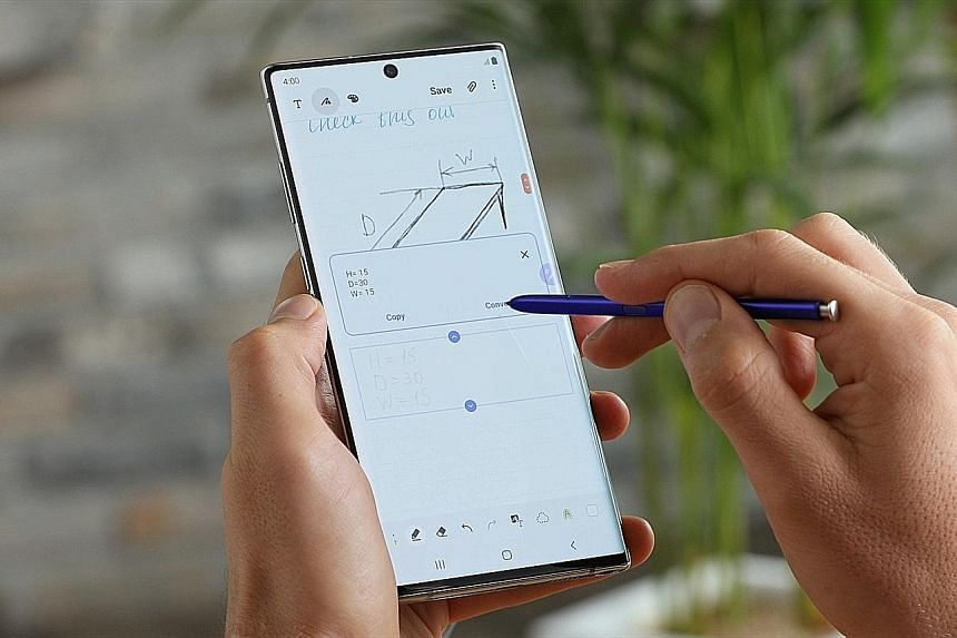 The Galaxy Note 10 has a screen-to-body ratio of 94 per cent, among the highest in the industry. Its stylus pen has been upgraded to perform new tasks, such as converting air gestures to tasks on the phone screen.