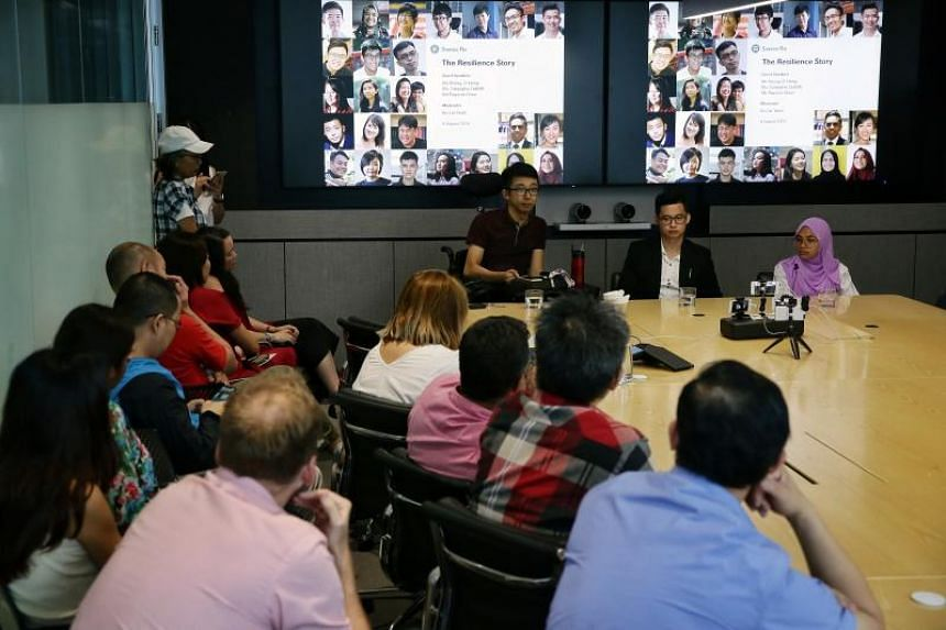 (From right) Ms Zulayqha Zulkifli, Mr Rayson Choo and Mr Wong Zi Heng, who were featured in The Straits Times' fortnightly column Generation Grit, told their stories to the staff at re-insurance company Swiss Re on Aug 8, 2019.