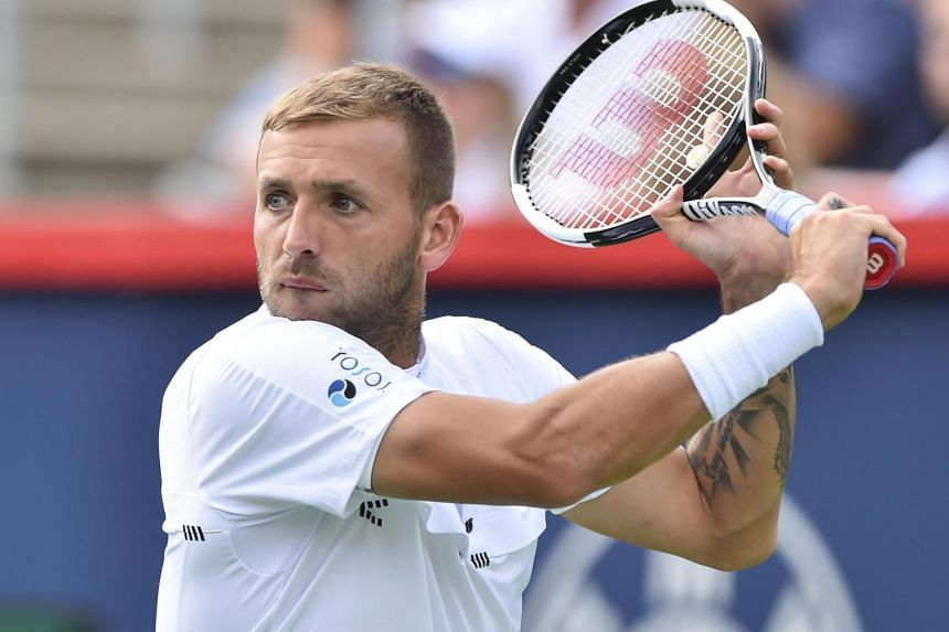 Daniel Evans of Great Britain prepares to hit a return during day 6 of the Rogers Cup at IGA Stadium on Aug 7, 2019 in Montreal, Quebec, Canada.