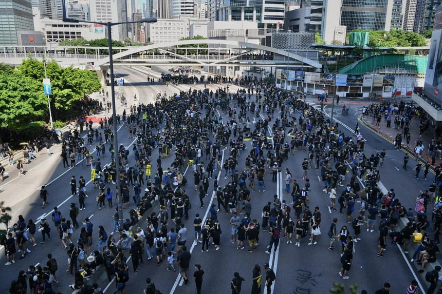 Protesters forming up at Harcourt Road, outside the Hong Kong Legislative Council on Aug 5, 2019.
