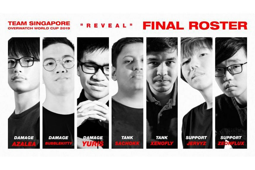 Mr Figo Chua (far left), 18, who goes by the moniker Azalea, was announced on Sunday as a member of the Singapore team for the Overwatch World Cup in California from Oct 31 to Nov 2.