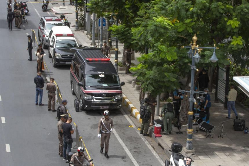 Thai investigators cordoning off an area where an explosion took place in Bangkok on Aug 2, 2019.