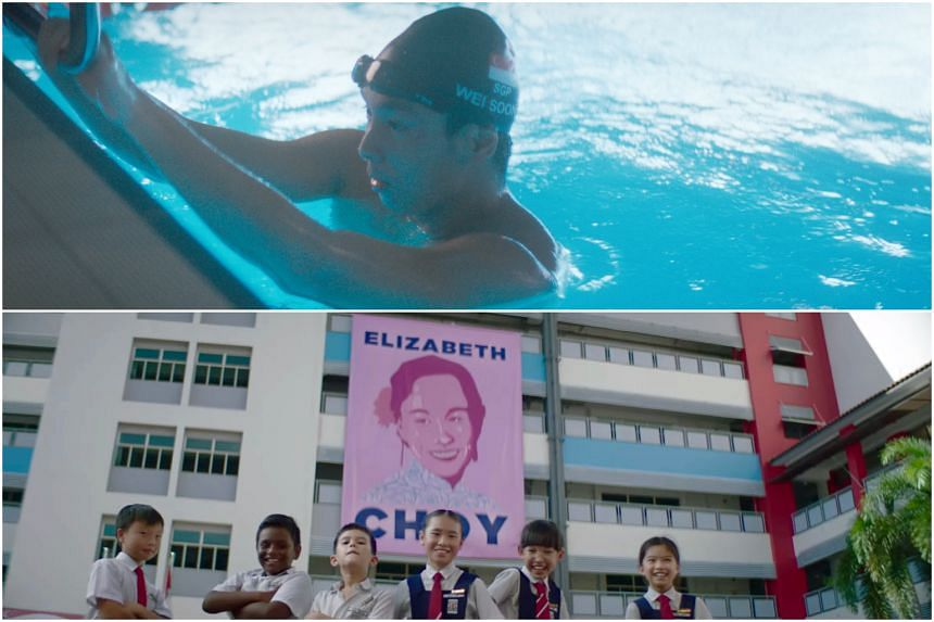 Singtel's National Day video features national para-swimmer Toh Wei Soong (top) among others, while StarHub's video champions wartime heroine Elizabeth Choy.