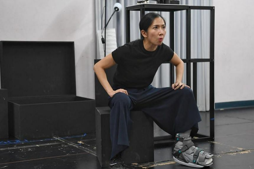 Forked,  actress Jo Tan's first full-length script which debuted at 2017's M1 Singapore Fringe Festival, is turning into something of a physical challenge due to her fractured toe.