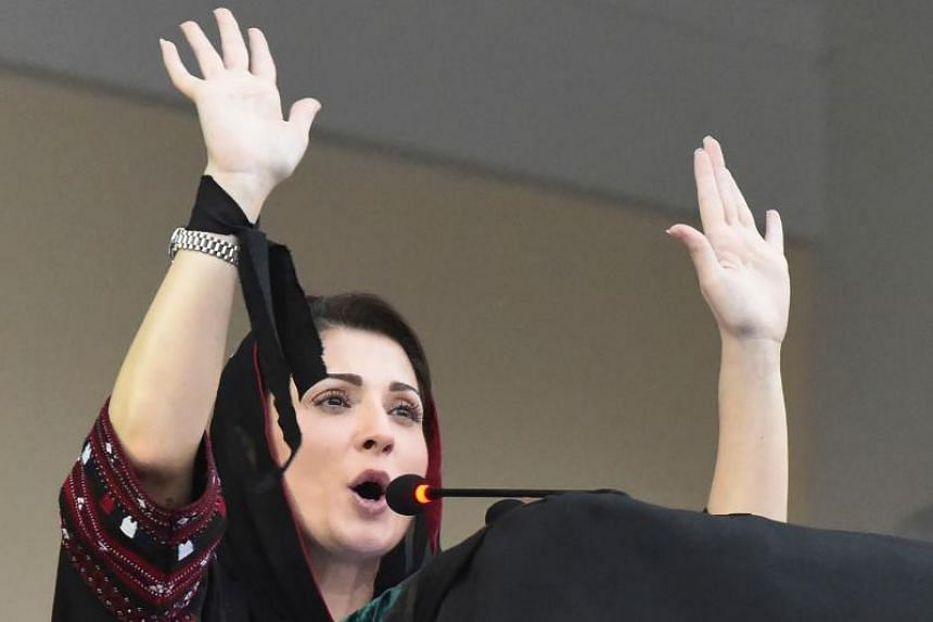 In this photo taken on July 25, 2019, Maryam Nawaz Sharif addresses a gathering in Quetta. She is the latest member of her family to be targeted under the government of Mr Imran Khan.