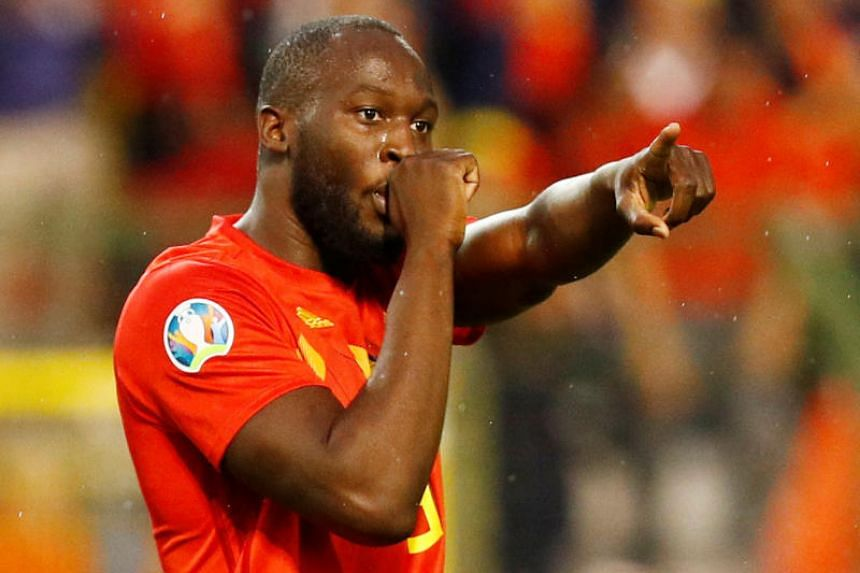 In this picture taken on June 11, 2019, Belgium's Romelu Lukaku celebrates scoring a second goal.