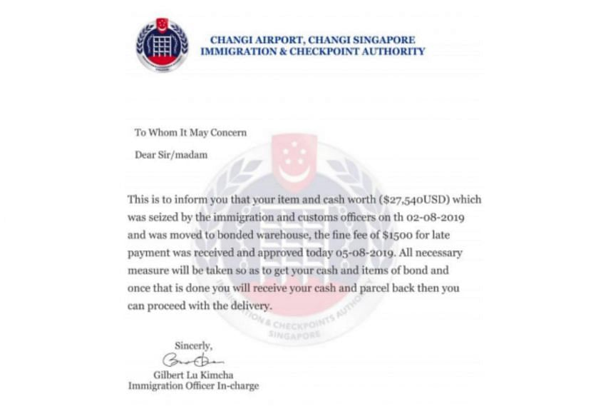 A member of the public received an e-mail that claimed that a package in his name had been detained at a warehouse. The e-mail was accompanied by a letter that bears the ICA logo.