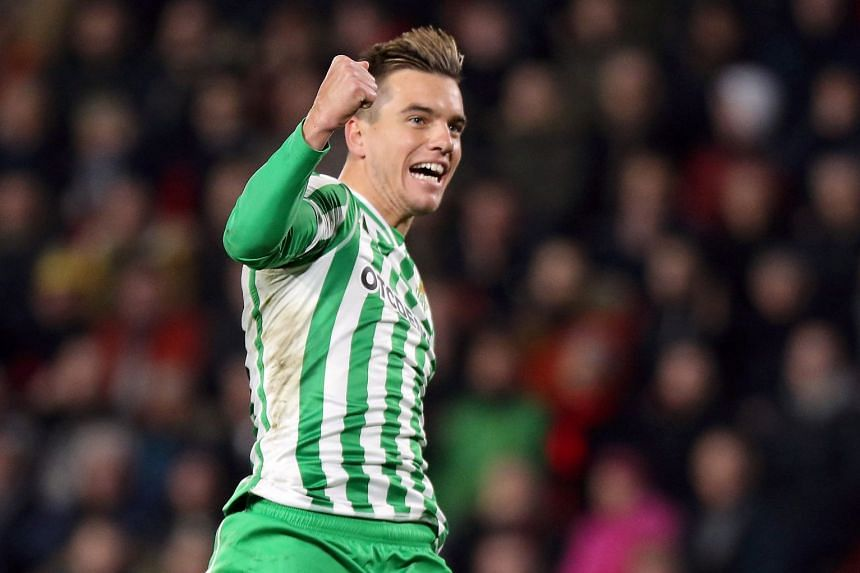 Giovani Lo Celso of Real Betis celebrates a goal.
