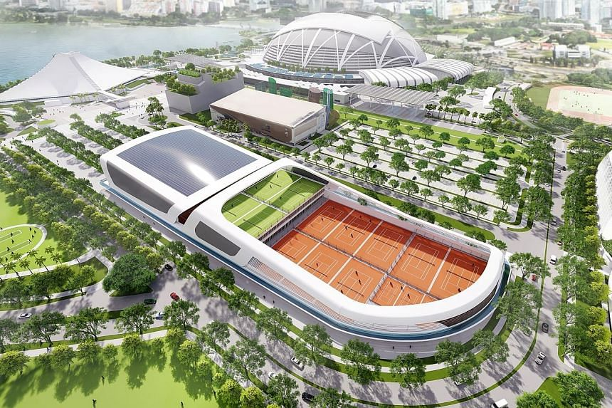 An artist impression of the various components of the Kallang Alive project, with the Singapore Tennis Centre in the foreground.