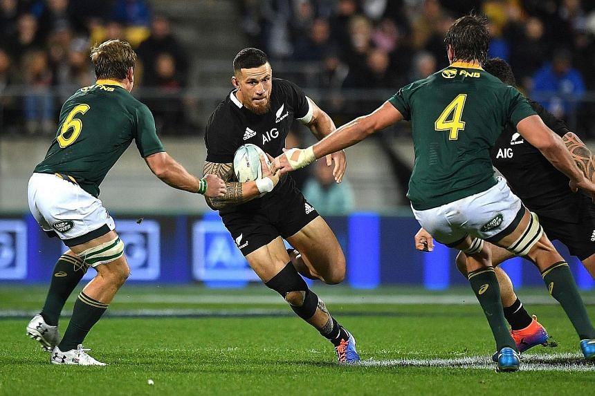 New Zealand's Sonny Bill Williams trying to breach the South African defence during their 16-16 Rugby Championship draw in Wellington on July 27. The Pool B clash between defending champions All Blacks and their arch-rivals Springboks in next month's
