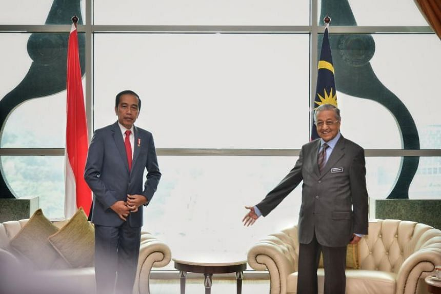 Malaysian Prime Minister Mahathir Mohamad and Indonesian President Joko Widodo during an official welcoming ceremony in Putrajaya, Malaysia, on Aug 9, 2019.