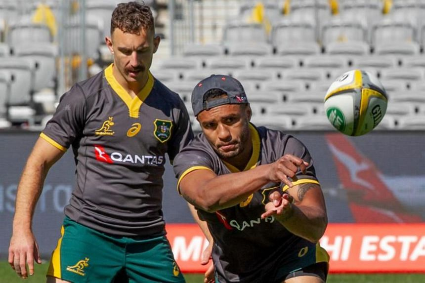 Australia's Will Genia (right) and Nic White attend a training session during the captain's run in Perth, on Aug 9, 2019, ahead of their Bledisloe Cup game against the New Zealand All Blacks.