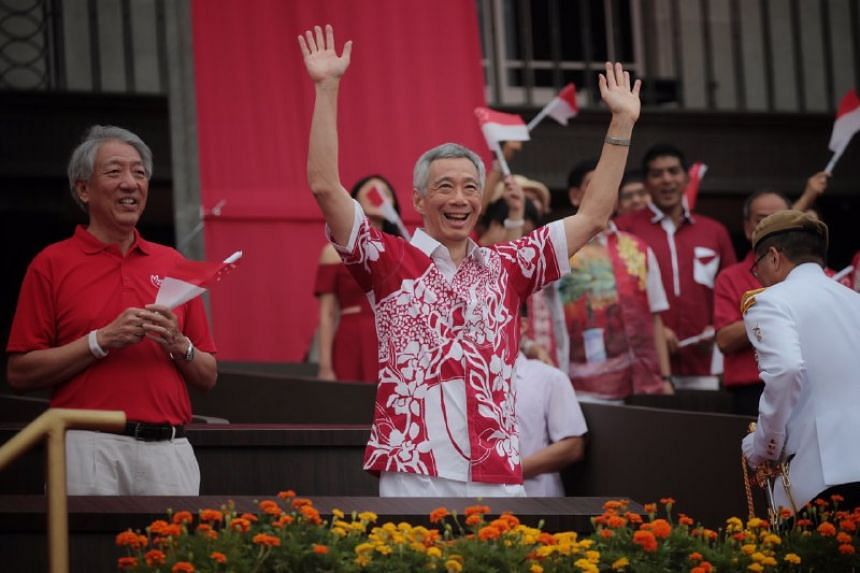 Prime Minister Lee Hsien Loong at the National Day Parade at the Padang on Aug 9, 2019.