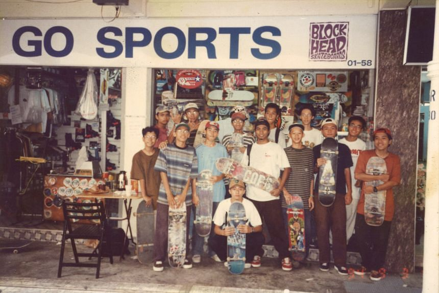 Some of the skaters in front of the shop's iconic sign in 1994. Set up in 1985, three years before I was born, Go Sports had become one of the go-to places for skate supplies during an era when skateboarding was still considered a rebellious subcul