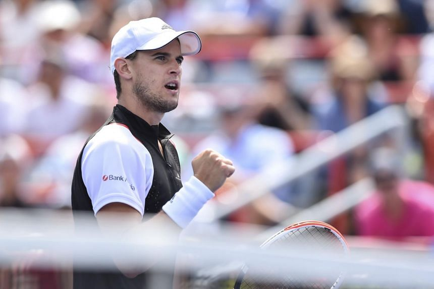 Dominic Thiem of Austria reacts after winning a point against Marin Cilic of Croatia during day 7 of the Rogers Cup at IGA Stadium, on Aug 8, 2019.