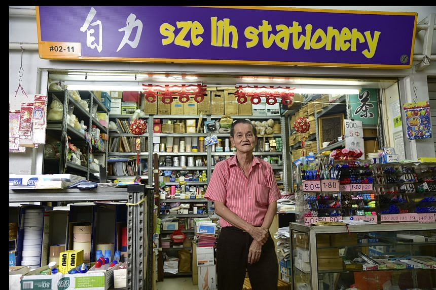 Mr Ho Khek Yue, 70, runs Sze Lih stationery shop on the second floor of Old Airport Road Food Centre. More than 40 years ago, he sold 20 to 30 pens a day. Now, he sells barely a dozen a month. Old Airport Road Food Centre, which was opened in 1973, w