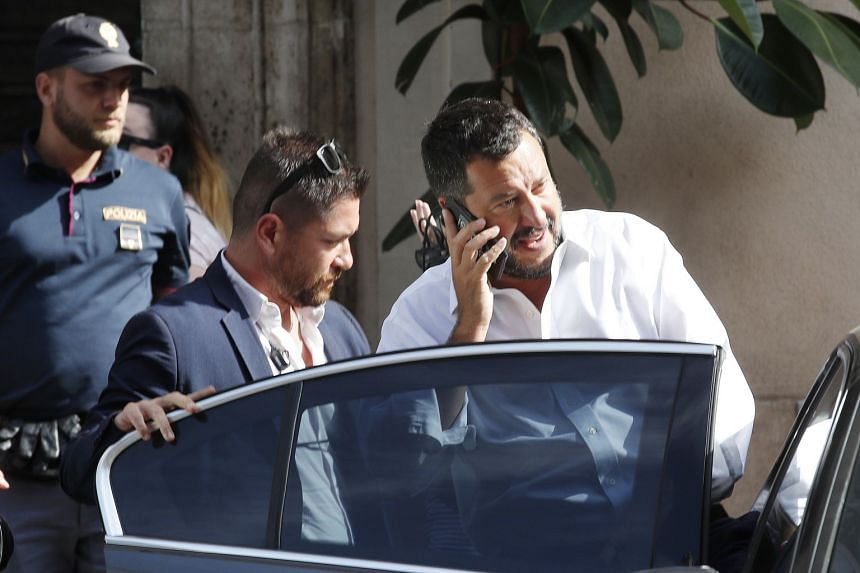 Italian Interior Minister and Deputy Prime Minister Matteo Salvini leaves after attending a meeting on Aug 8, 2019.