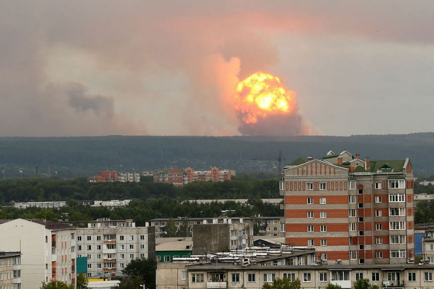 An Aug 5, 2019 photo shows the explosion at a military ammunition depot near Achinsk, Russia.