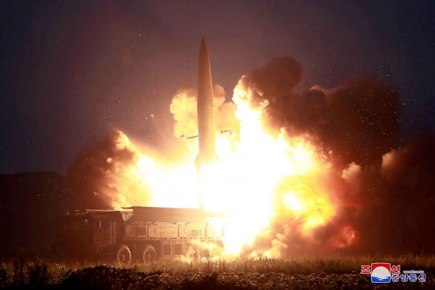 An image supplied on Aug 7, 2019 shows a test missile launch at an unidentified location in North Korea.