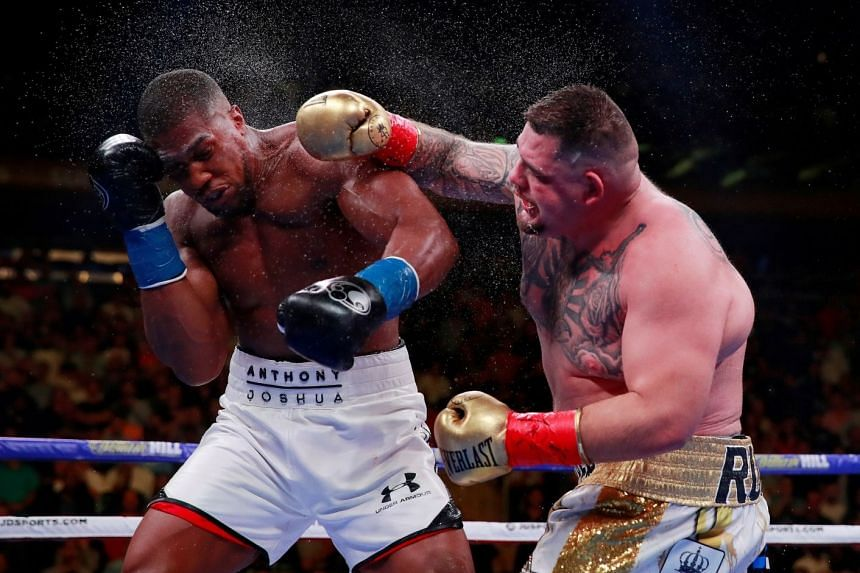 Andy Ruiz Jr in action with Anthony Joshua in June 2019.
