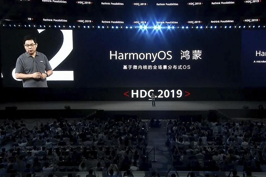 Mr Richard Yu, CEO of Huawei consumer business, speaking at a conference in Dongguan, China, yesterday, when Huawei unveiled the HarmonyOS.