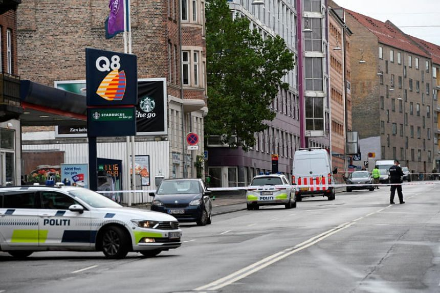 Danish police at the scene of an explosion outside a police station in Copenhagen on Aug 10, 2019.