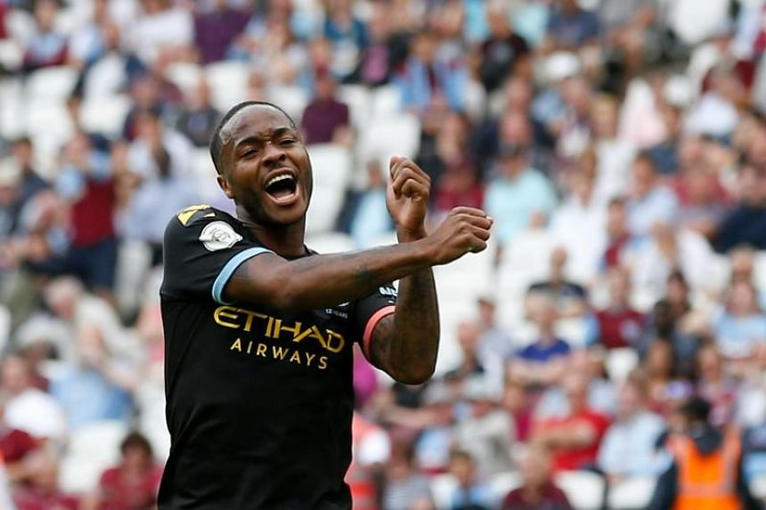Manchester City's Raheem Sterling celebrating after scoring a hat-trick against West Ham United on Aug 10, 2019.