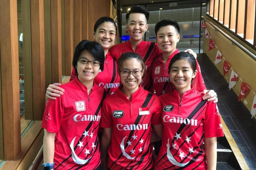 Singapore bowlers (clockwise from top left) Daphne Tan, Shayna Ng, New Hui Fen, Bernice Lim, Charlene Lim and Cherie Tan, who will be representing the country at the Women's World Bowling Championship in Las Vegas.