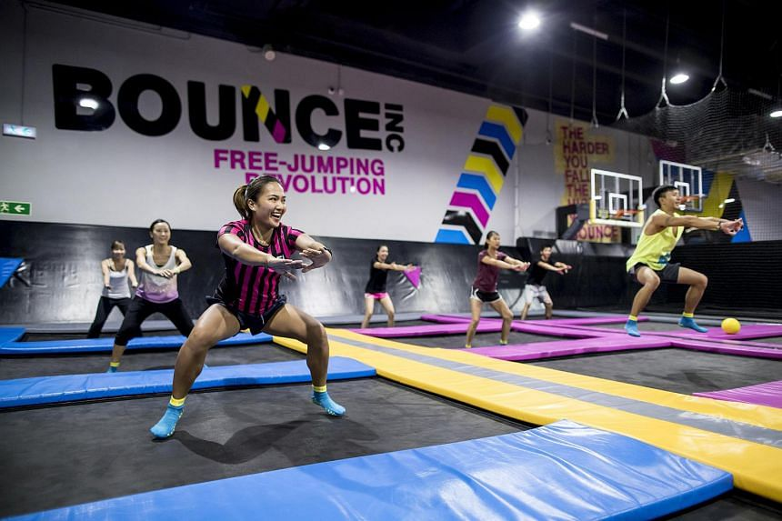 A file photo showing participants having fun on the trampoline at a Bounce Fit session. Participants at this year's ST Run can try out a Bounce Fit class on Aug 25, as part of the run's build-up programme.