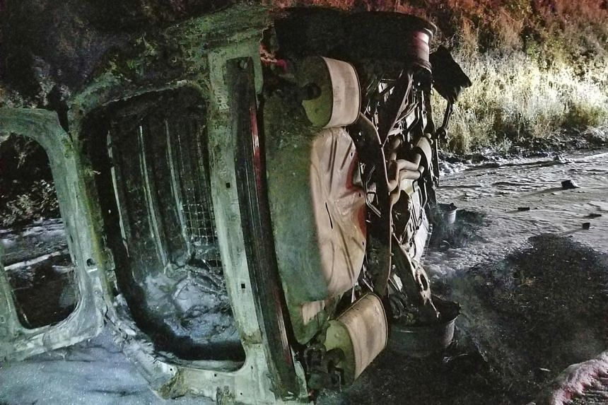 The bear smashed the hood and windshield, after which the the patrol car hit an embankment, rolled onto its side and burst into flames.